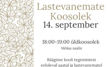 Lastevanemate koosolek 14. september